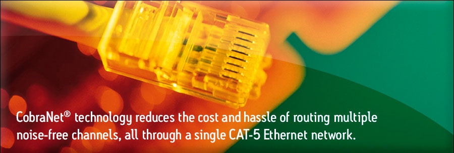 CobraNet technology reduces the cost and hassle of routing multiple noise-free channels, all through a single CAT-5 Ethernet network